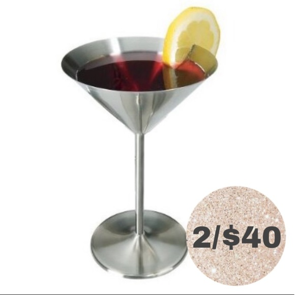 STAINLESS STEEL MARTINI GLASSES FANCY BAR HOME